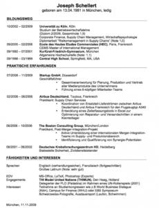 Lebenslauf Beispiele Und Vorlagen Zum Download Muster Lebenslauf Vorlage Consulting
