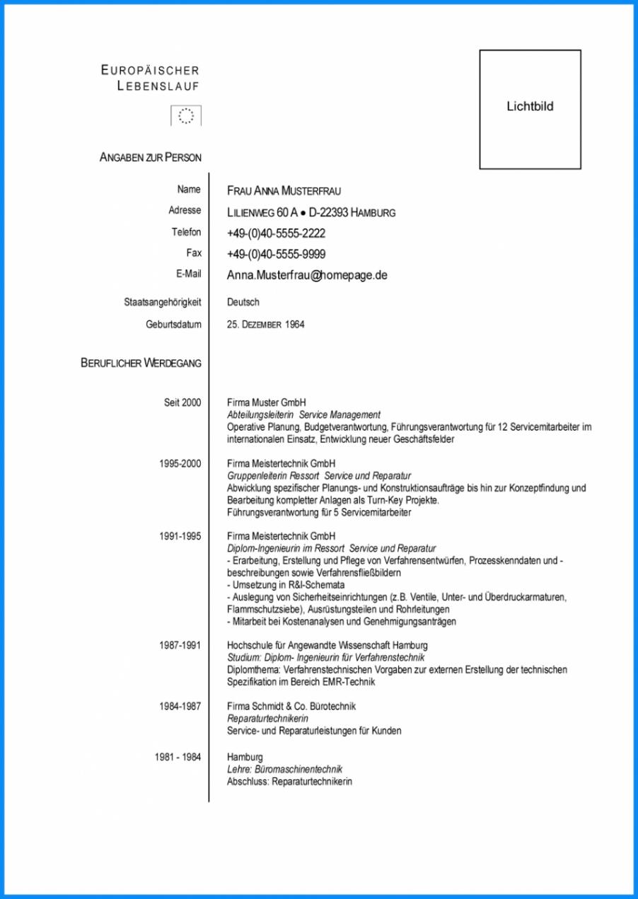 Porbe von  Ausgezeichnet Europäischer Lebenslauf Muster Word Europäischer Lebenslauf Vorlage Word