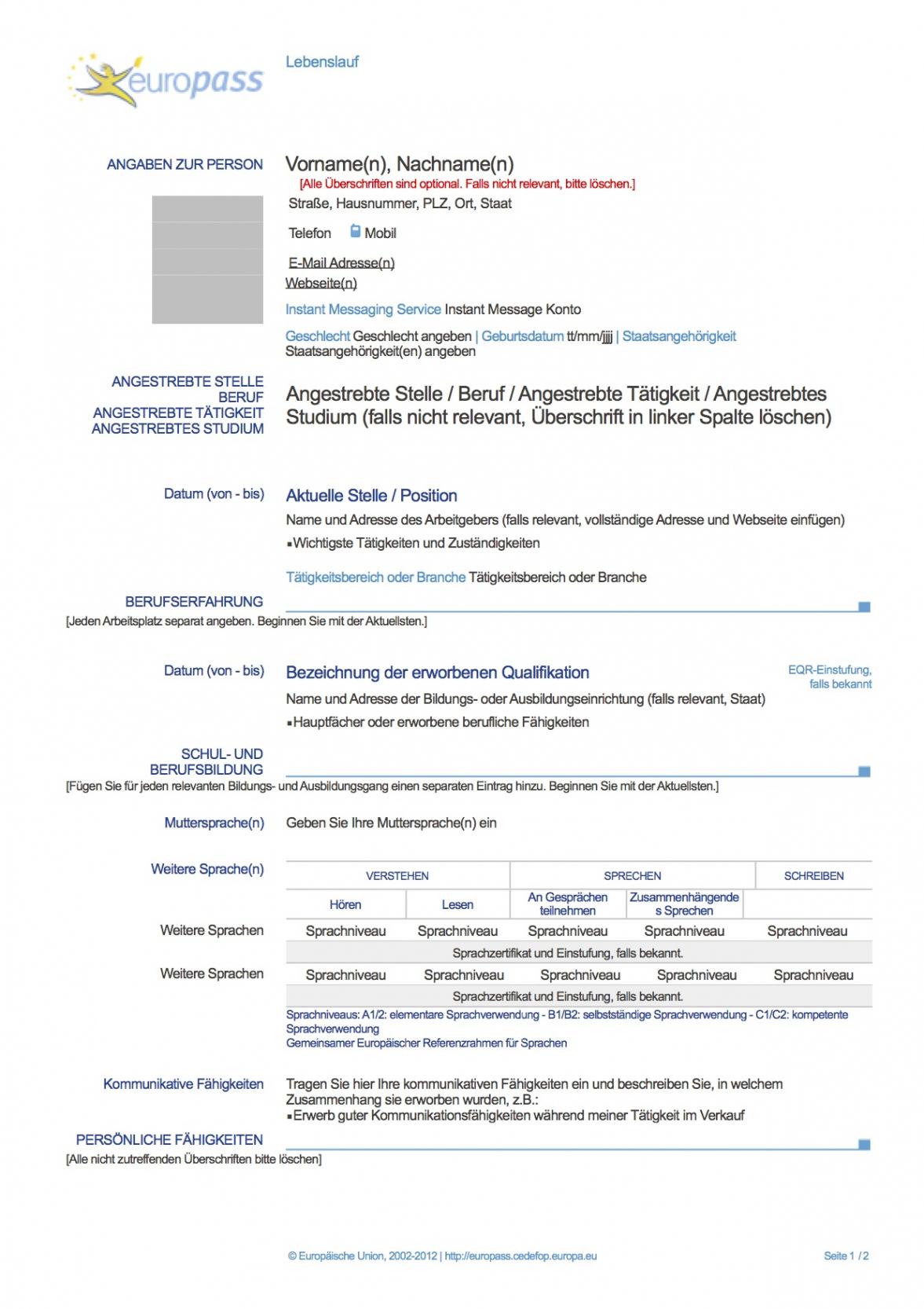 Porbe von  Europass Lebenslauf (Deutsch) : Muster Lebenslauf Europäischer Lebenslauf Vorlage Word