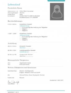 Porbe von  Lebenslauf Muster  38 Kostenlose Muster Als Download Lebenslauf Für Bewerbung Vorlage