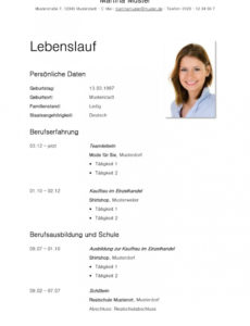 Porbe von  Tabellarischer Lebenslauf Vorlage: Kostenlose Muster Zum Tabellarischer Lebenslauf Ausbildung Vorlage