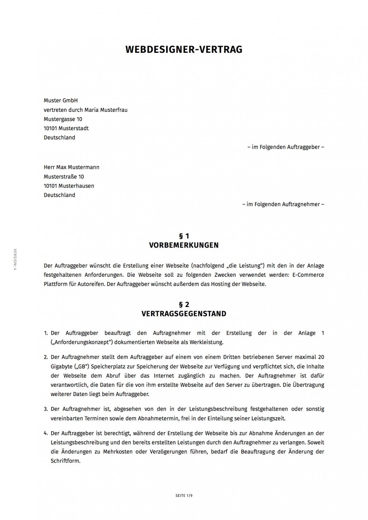 [%Eine Probe% Porbe ] von15+ Schriftliche Vereinbarung Muster  Exeterca Vereinbarung Muster Zusammenarbeit