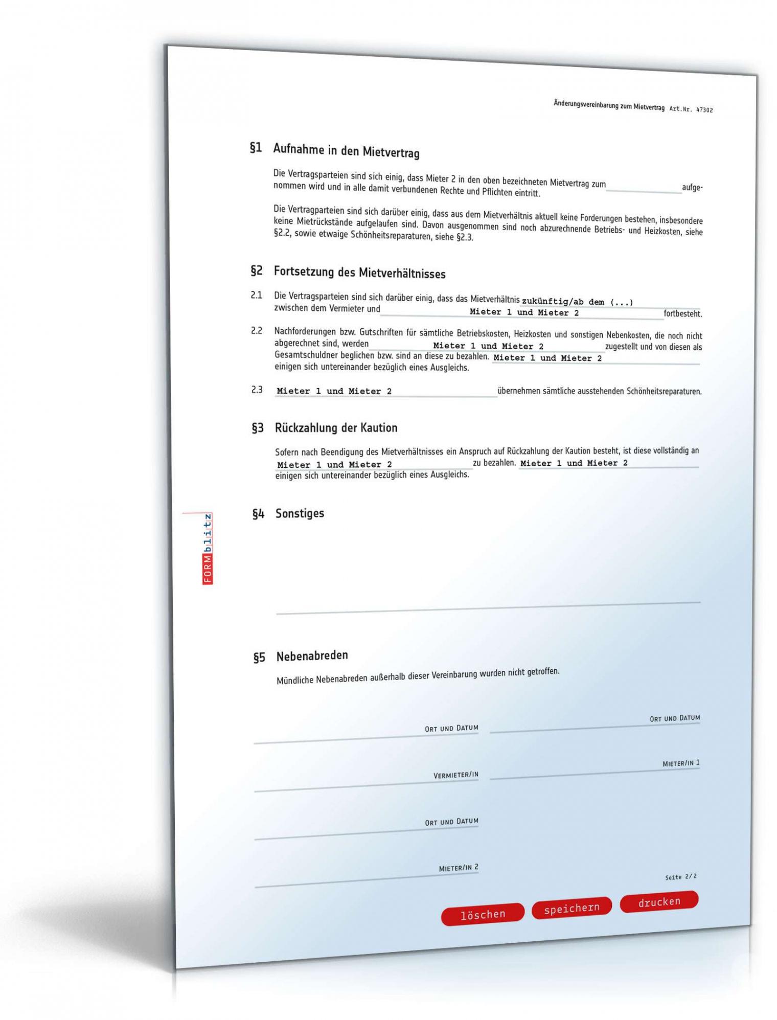 [%Eine Probe%|Porbe|] vonÄnderungsvereinbarung Mietvertrag: Muster Zum Download Vereinbarung Zur Entlassung Eines Mieters Aus Dem Mietvertrag
