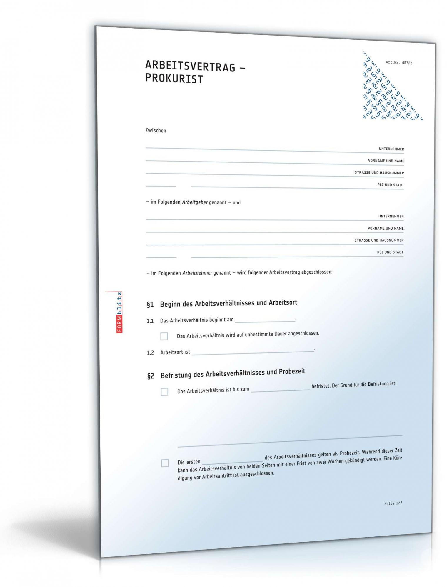 [%Eine Probe%|Porbe|] vonArbeitsvertrag Prokurist: Rechtssicheres Muster Zum Download Vereinbarung Abfindung Bei Kündigung Vorlage