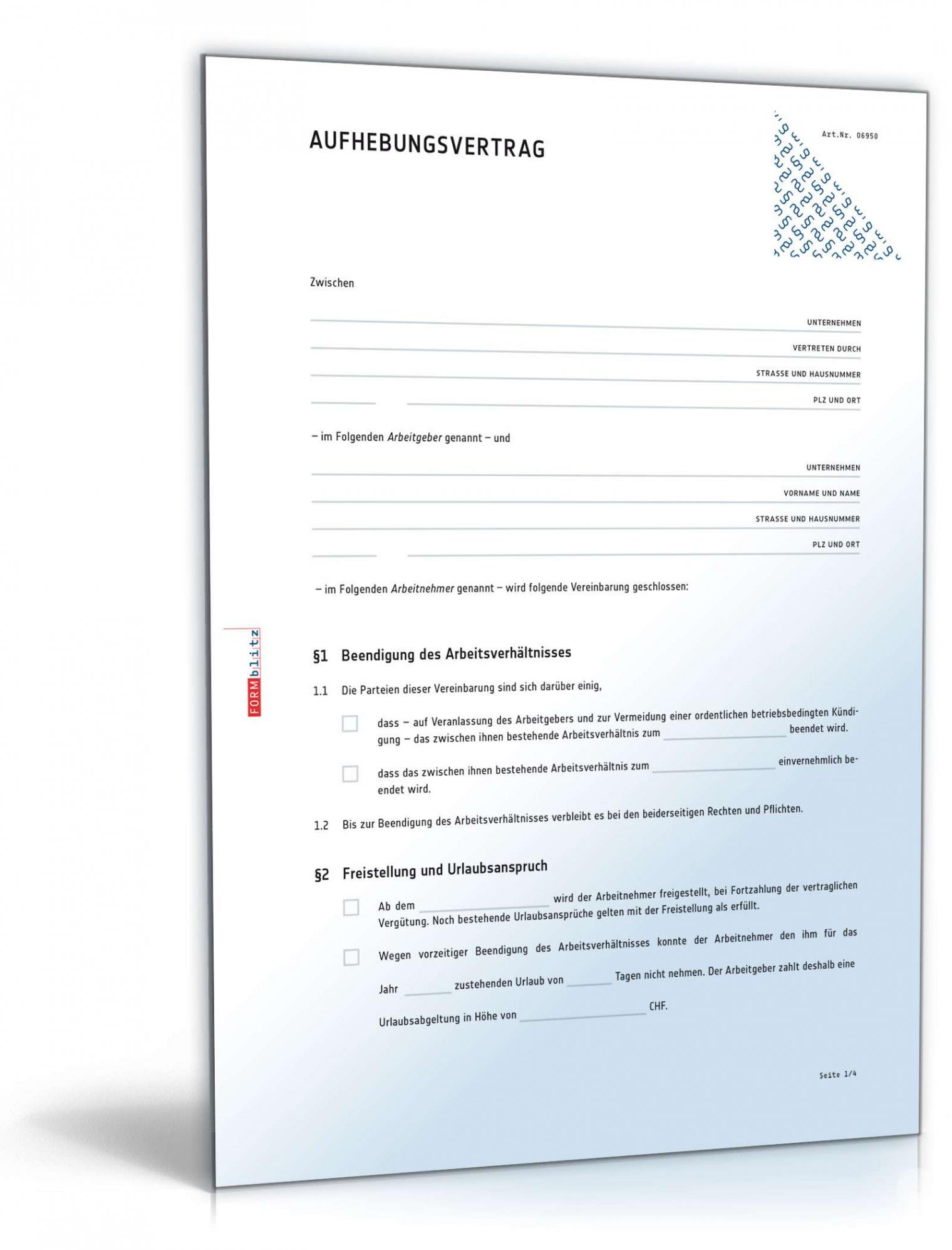 [%Eine Probe%|Porbe|] vonAufhebungsvertrag Für Ein Arbeitsverhältnis  Muster Zum Vereinbarung Abfindung Bei Kündigung Vorlage