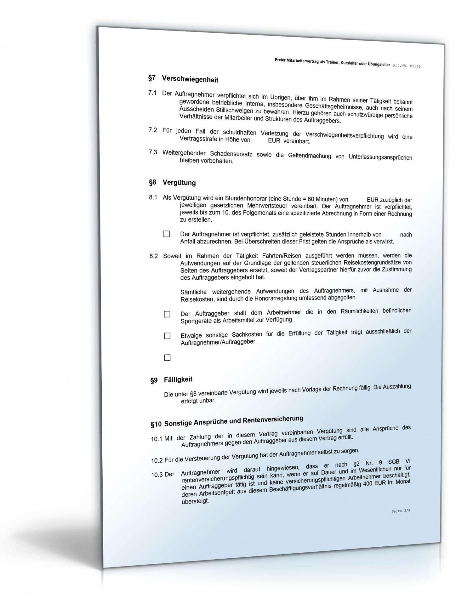[%Eine Probe%|Porbe|] vonHonorarvertrag Trainer Kursleiter  Muster Zum Download Privatrechtliche Vereinbarung Muster