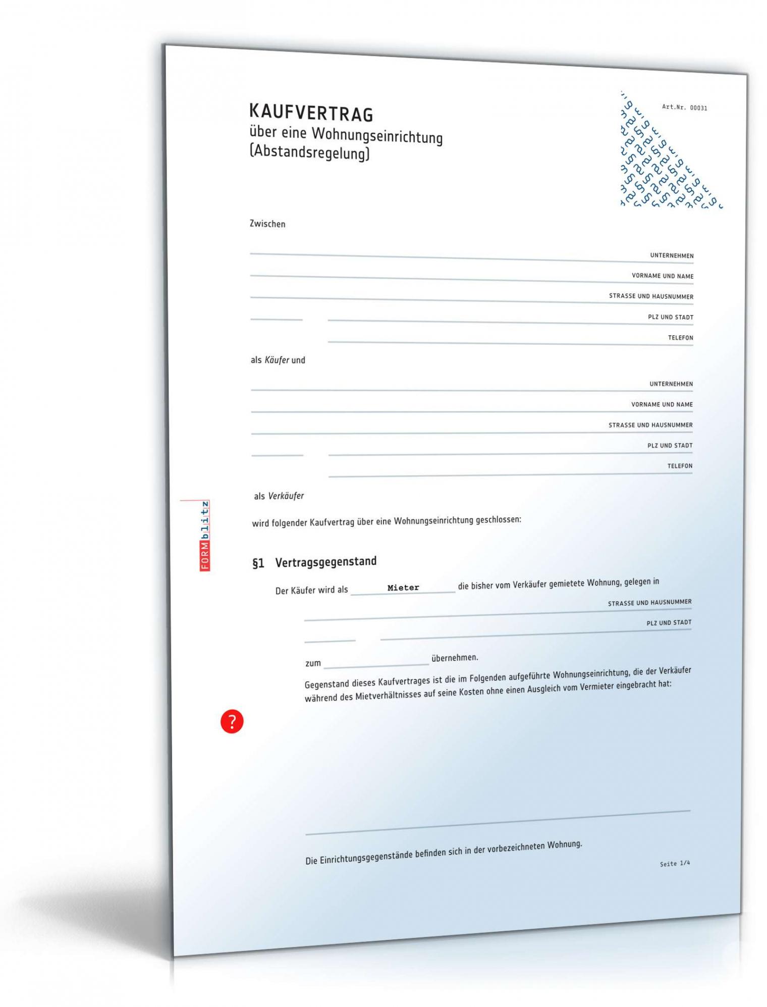 [%Eine Probe%|Porbe|] vonKaufvertrag Wohnungseinrichtung  Muster Zum Download Vereinbarung Ablöse Wohnung Vorlage