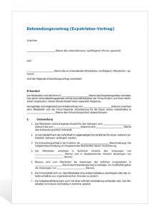 [%Eine Probe%|Porbe|] vonMuster Entsendungsvertrag Vorlage Vereinbarung Unbezahlter Urlaub