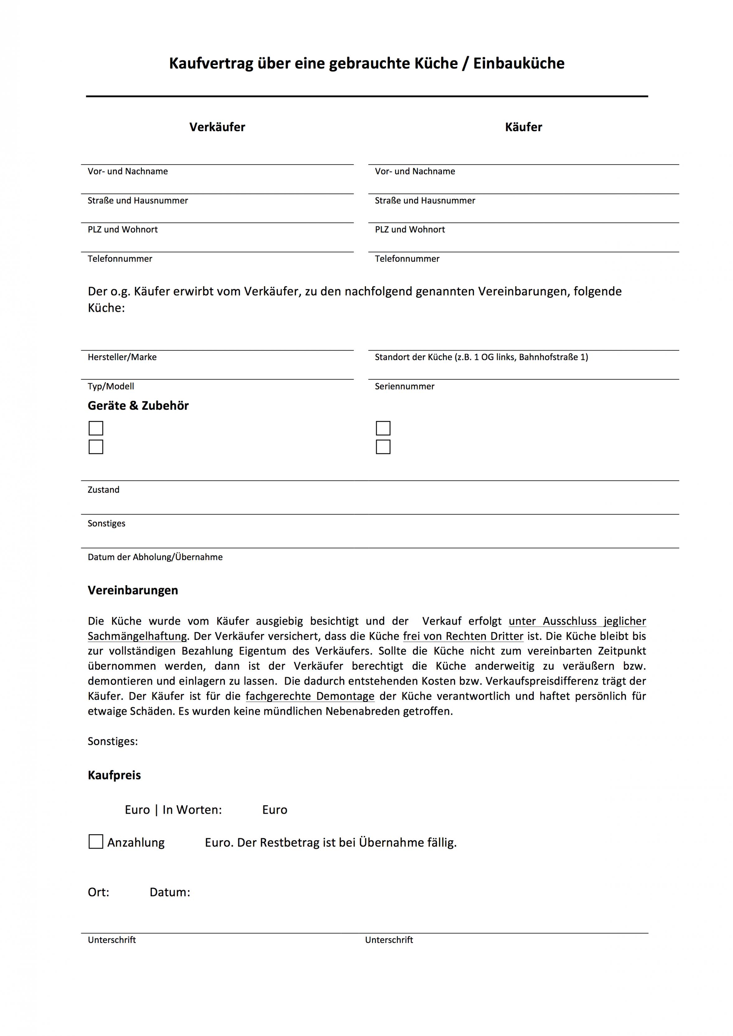 [%Eine Probe%|Porbe|] vonMuster: Kaufvetrag Über Eine Gebrauchte Küche / Einbauküche Vereinbarung Ablöse Wohnung Vorlage