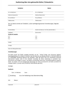 [%Eine Probe%|Porbe|] vonMuster: Kaufvetrag Über Eine Gebrauchte Küche / Einbauküche Vorlage Vereinbarung Möbelübernahme