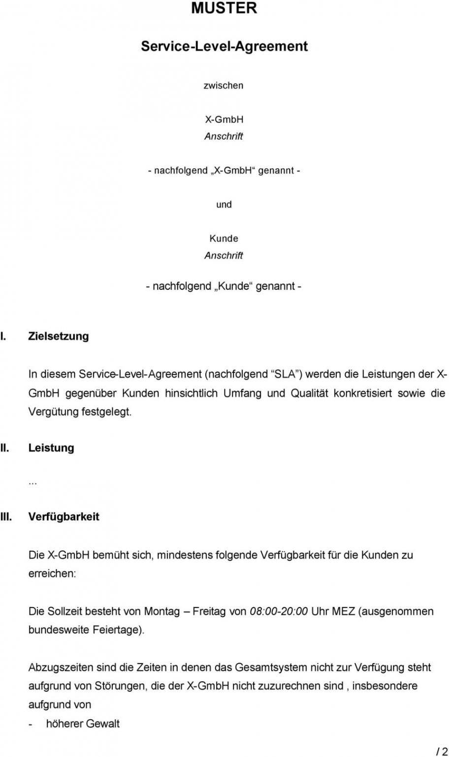 [%Eine Probe%|Porbe|] vonMuster Servicelevelagreement Zwischen Xgmbh Anschrift Service Level Vereinbarung Vorlage