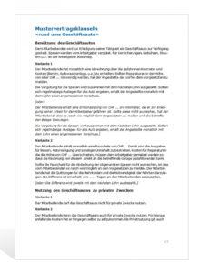 [%Eine Probe%|Porbe|] vonMusterklauseln Geschäftsauto Firmenwagen Vereinbarung Vorlage