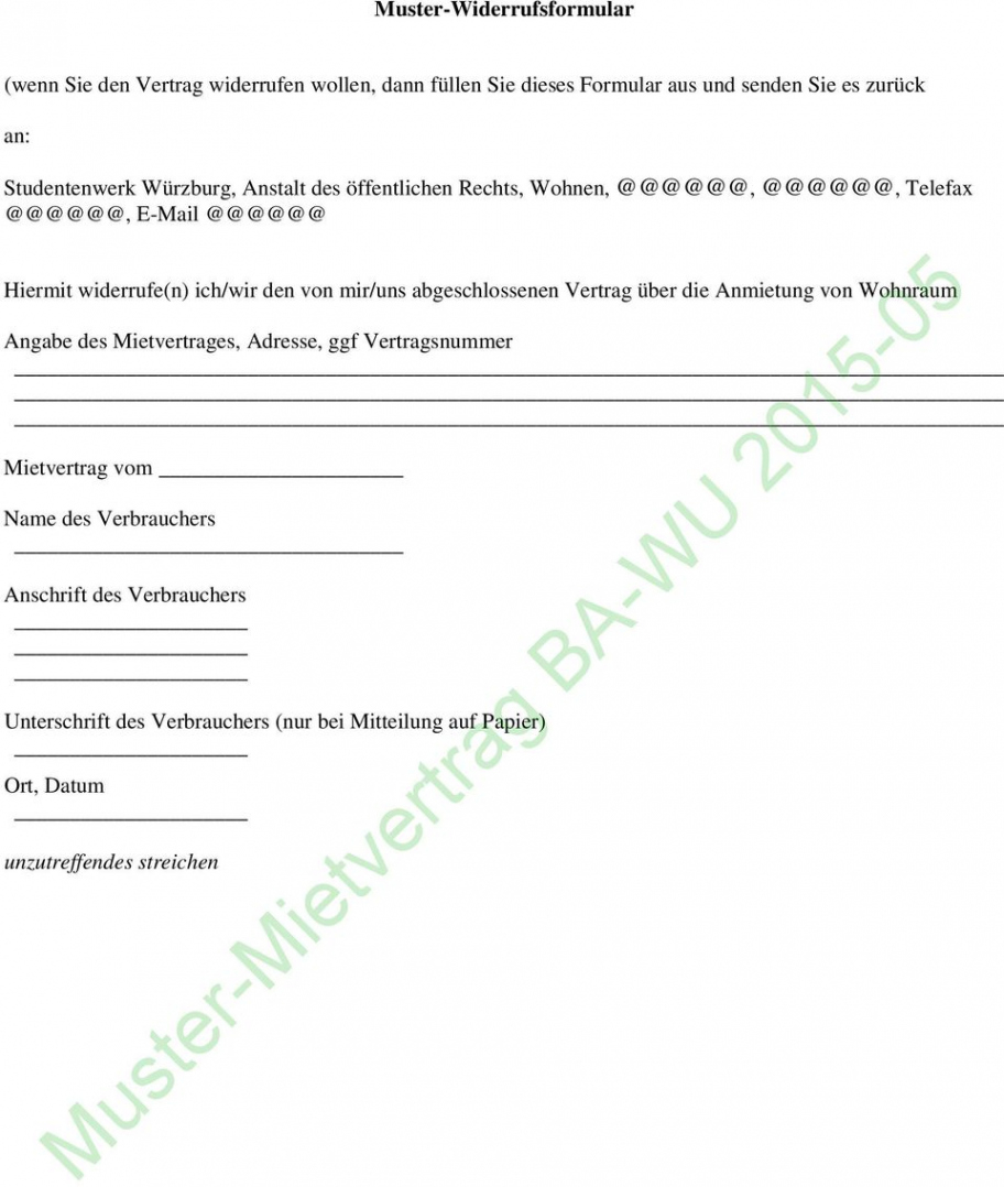 [%Eine Probe%|Porbe|] vonMustermietvertrag Bawu  Pdf Free Download Mitbewohner Vereinbarung Vorlage