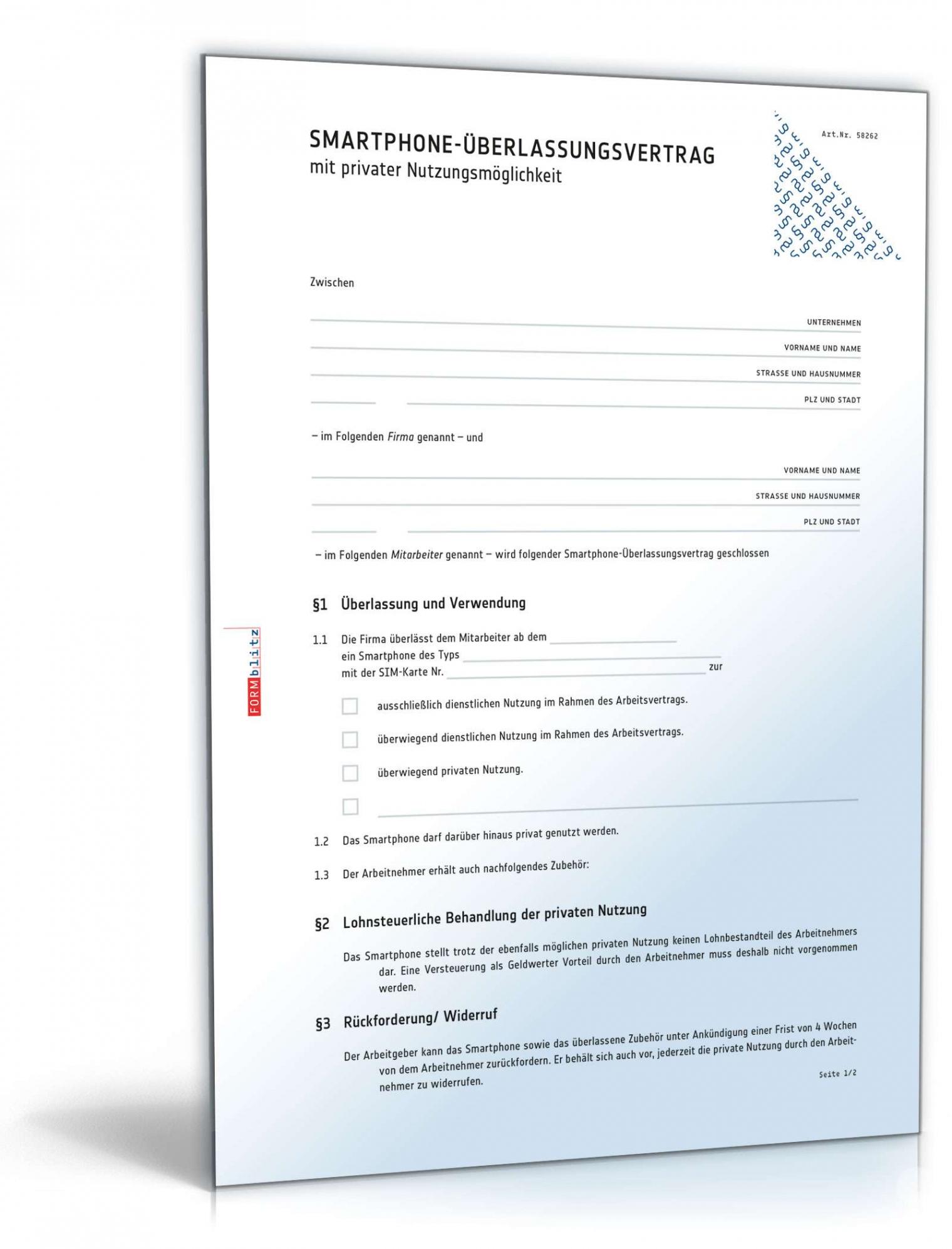 [%Eine Probe%|Porbe|] vonSmartphoneüberlassungsvertrag  Muster Zum Download Diensthandy Vereinbarung Vorlage