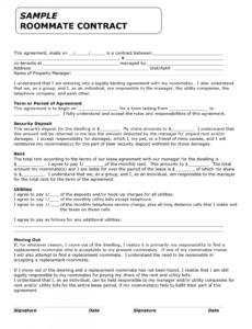 [%Eine Probe%|Porbe|] vonTemplate For Roommate Rules  Invitation Templates Mitbewohner Vereinbarung Vorlage