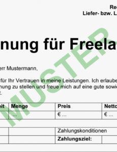 bearbeitbar von → gratis musterrechnung für freiberufler 2017  everbill selbstständig rechnung vorlage excel