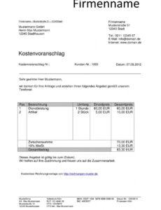 bearbeitbar von kostenvoranschlag vorlagen kostenlos downloaden werkstatt rechnung vorlage