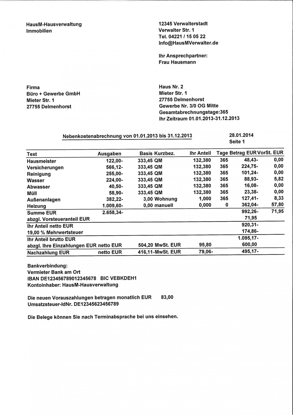 bearbeitbar von muster einer nebenkostenabrechnung für gewerbe kostenlos rechnung an vermieter vorlage excel