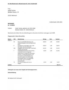 bearbeitbar von muster goä rechnung mit hausbesuch  goä igel igel rechnung vorlage pdf