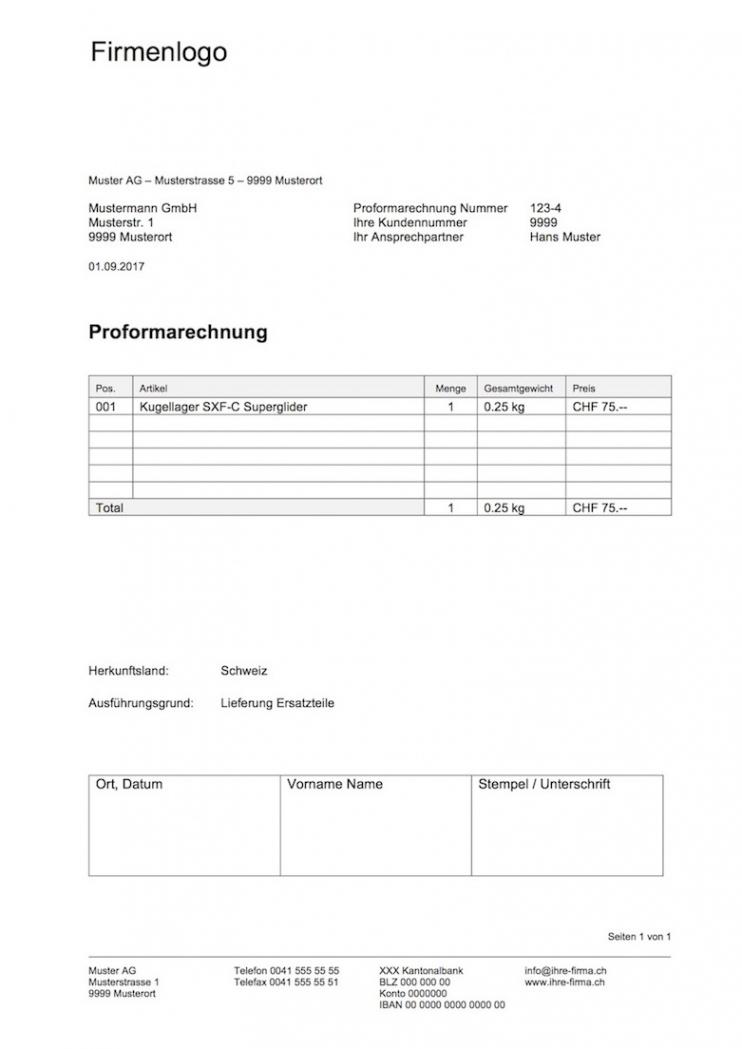 bearbeitbar von proformarechnung vorlage word & excelformat  muster rechnungsvorlage schweiz