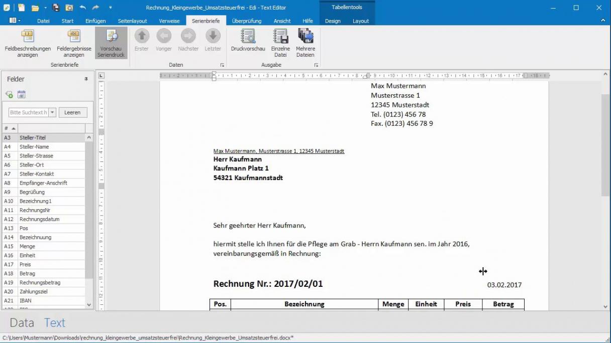 bearbeitbar von rechnungkleingewerbe anhand von word und excelvorlage als pdf erstellen rechnungsvorlage office word