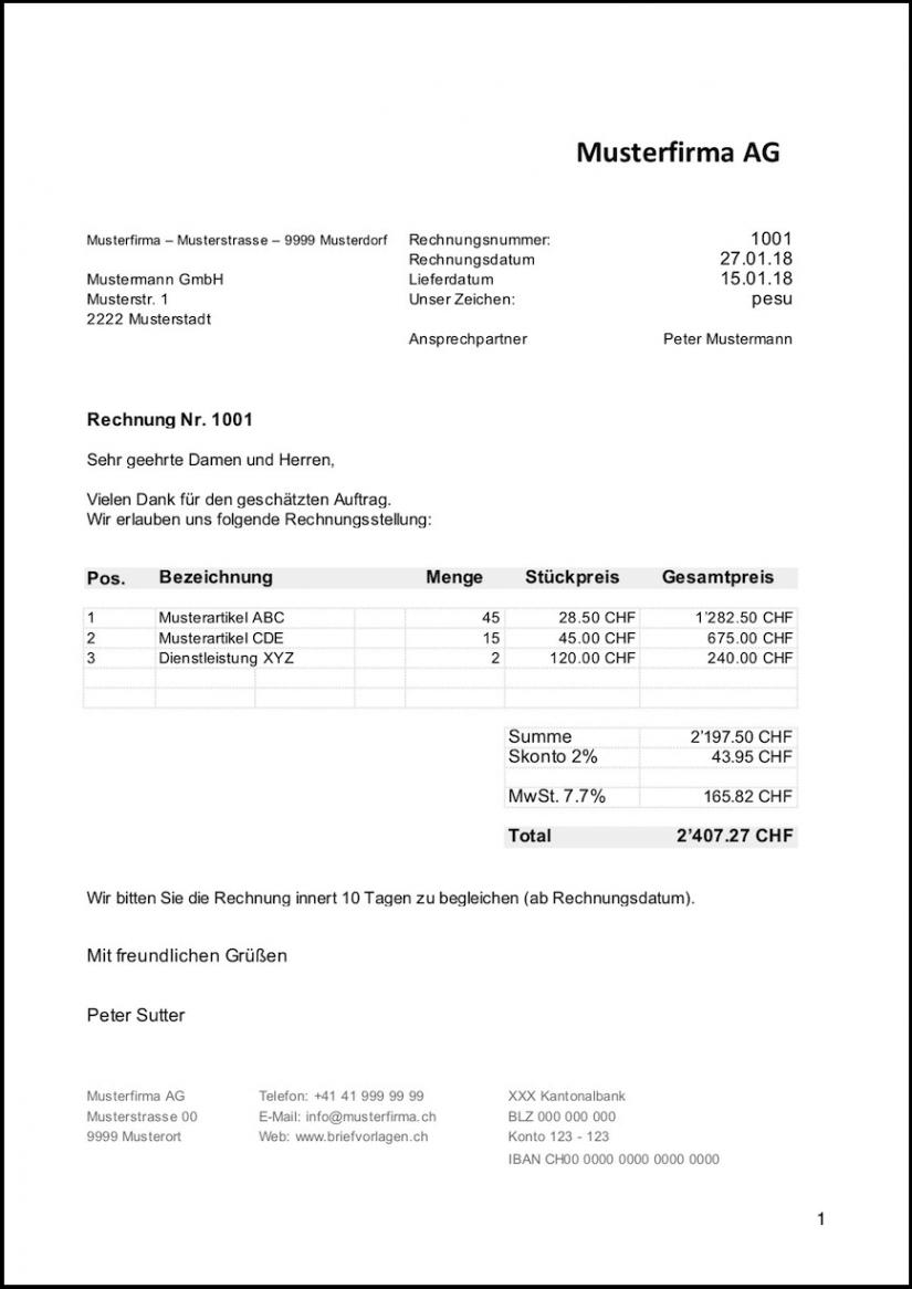 bearbeitbar von rechnungsvorlage schweiz im word & excelformat kostenlos rechnungsvorlage miete pdf