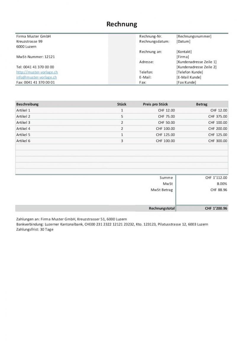 bearbeitbar von rechnungsvorlage schweiz word & excel  gratis downloaden werkstatt rechnung vorlage word