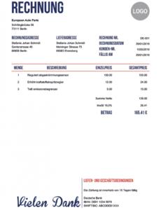 das beispiel von kostenlos rechnung schreiben  über 100 pdf rechnungsvorlagen geschäfts rechnung vorlage excel