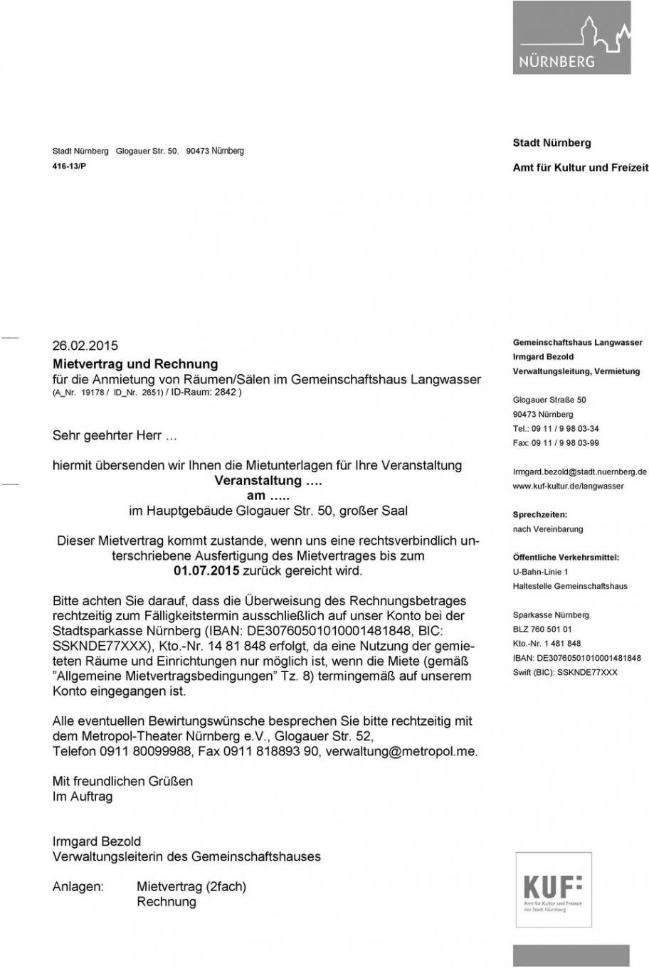 das beispiel von mietvertrag und rechnung für die anmietung von räumensälen rechnungsvorlage miete pdf