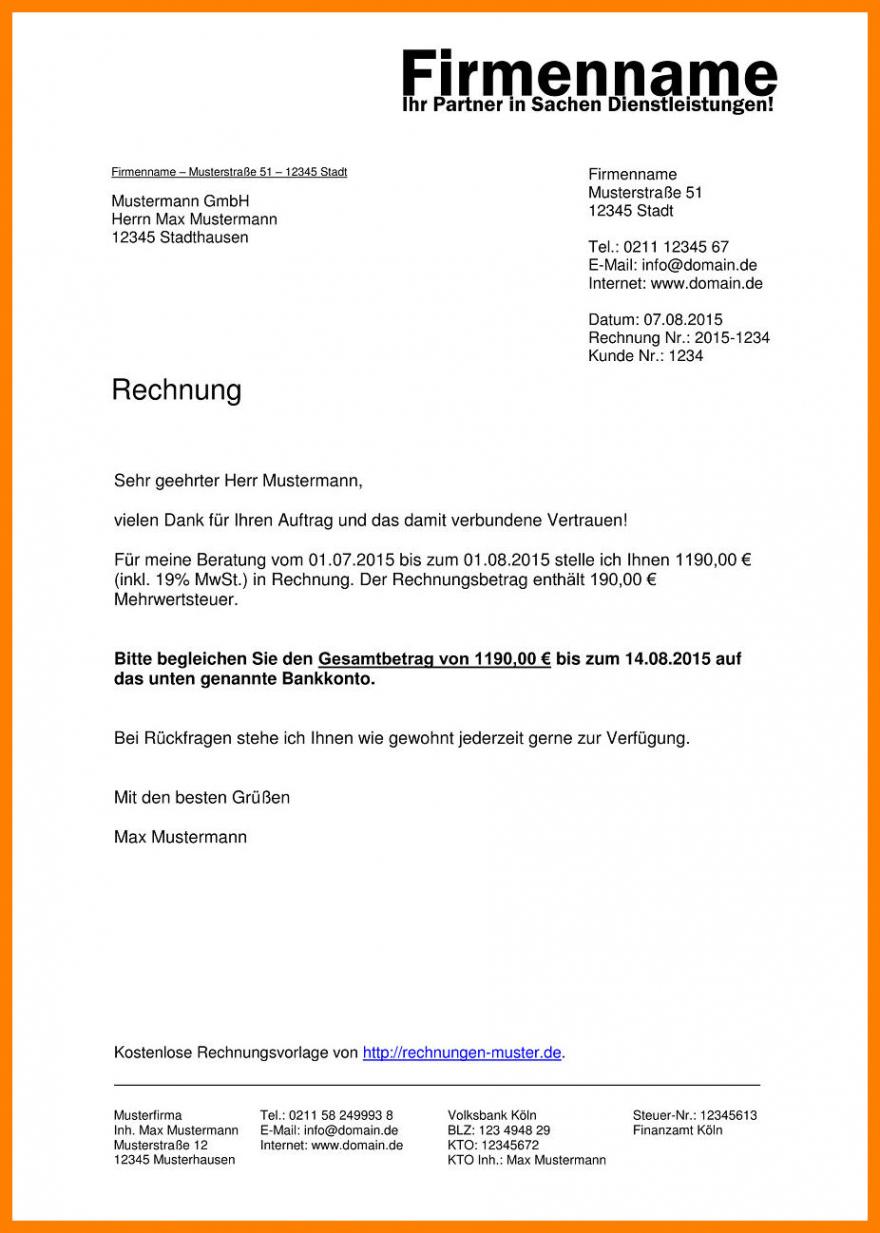 das sample von 15 vorlage rechnung dienstleistung  exeterca rechnungsvorlage hotel pdf