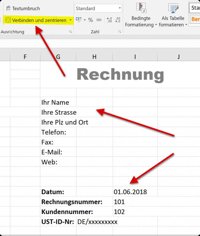 das sample von how to create professional invoice templates in excel 20162019 rechnungsvorlage office pdf