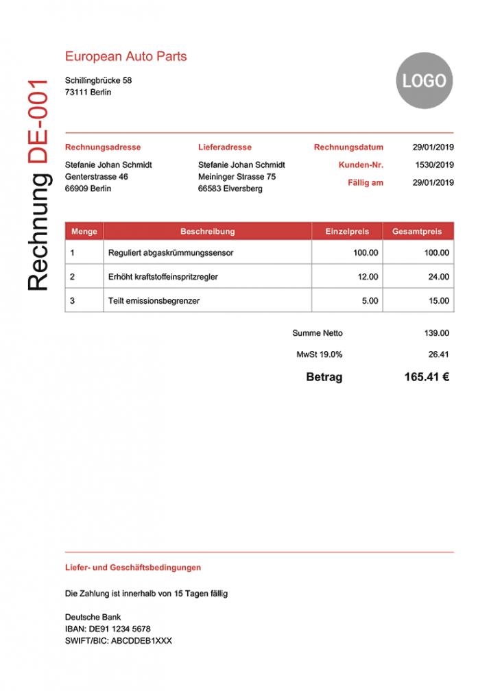 das sample von kostenlose pdf rechnung  100 vorlagen zum drucken online amerikanische rechnung vorlage word