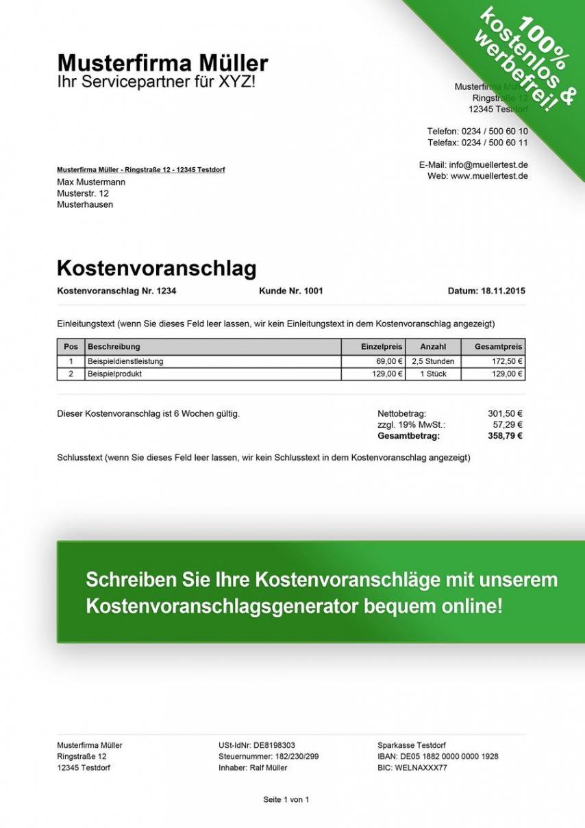 das sample von kostenvoranschlag vorlagen kostenlos downloaden brennholz rechnung vorlage