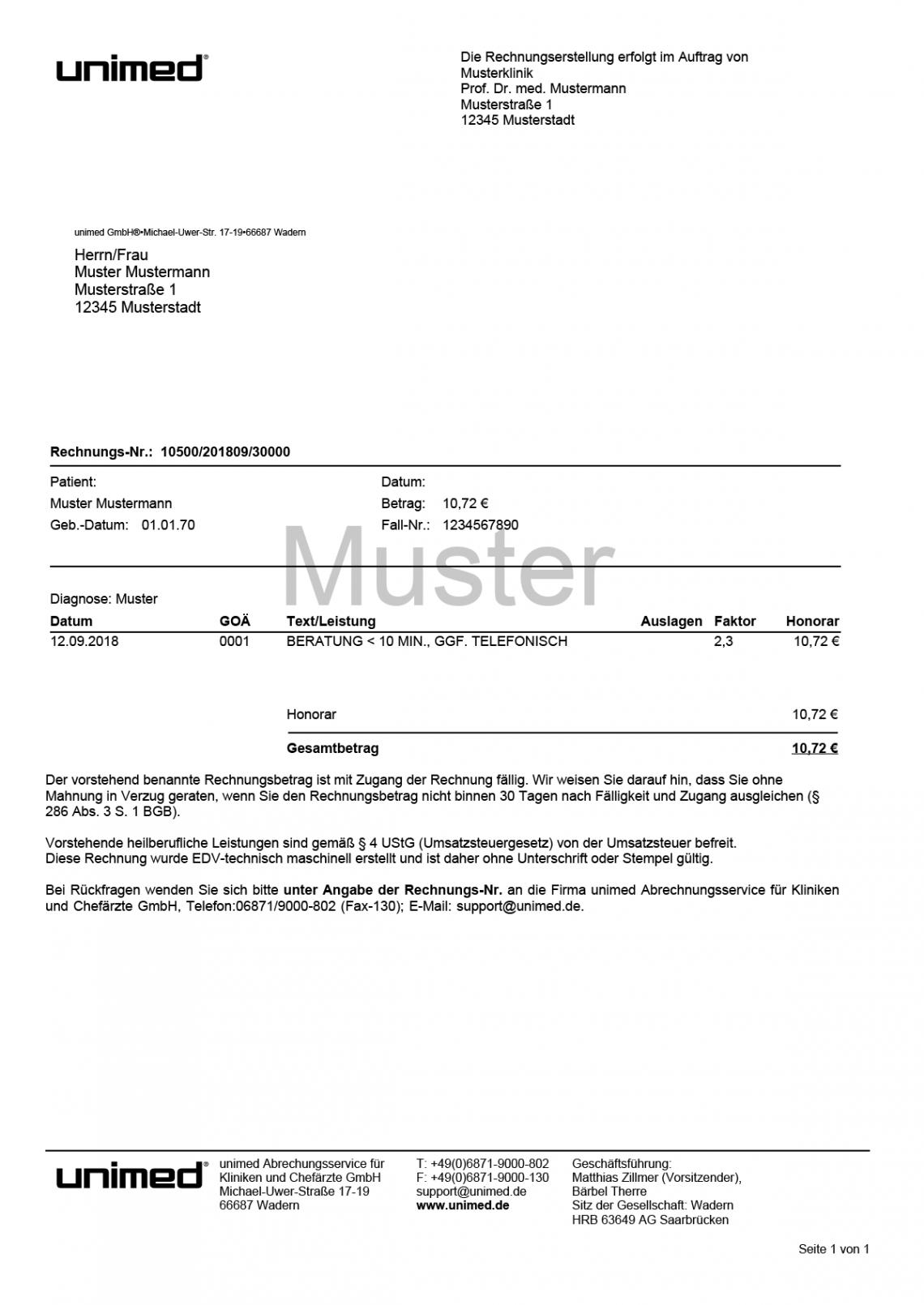 das sample von musterrechnung  unimedde auslagen rechnung vorlage pdf