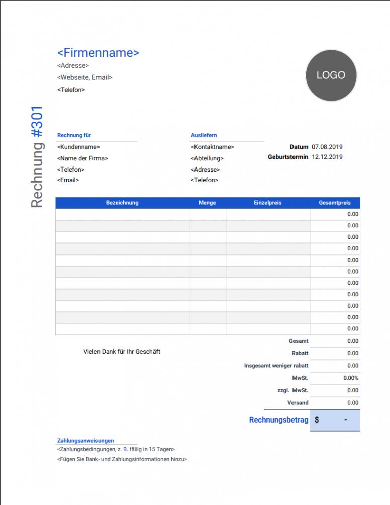 das sample von rechnungsvorlage  kostenlose und vollständig anpassbare rechnungsvorlage mit logo excel