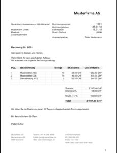 das sample von rechnungsvorlage schweiz im word & excelformat kostenlos rechnungsvorlage schweiz doc