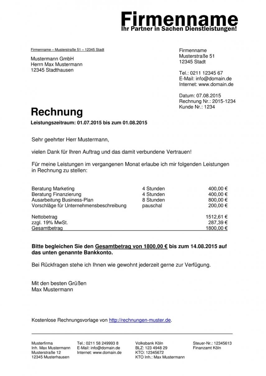 das sample von rechnungsvorlagen kostenlos  rechnungsvorlage für jeden zweck maler rechnung vorlage pdf