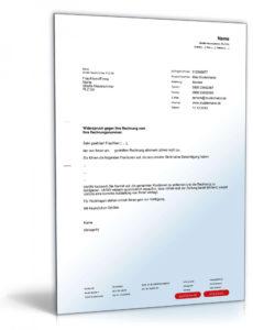 das sample von widerspruch rechnung  muster zum download  formblitz reklamation rechnung vorlage doc