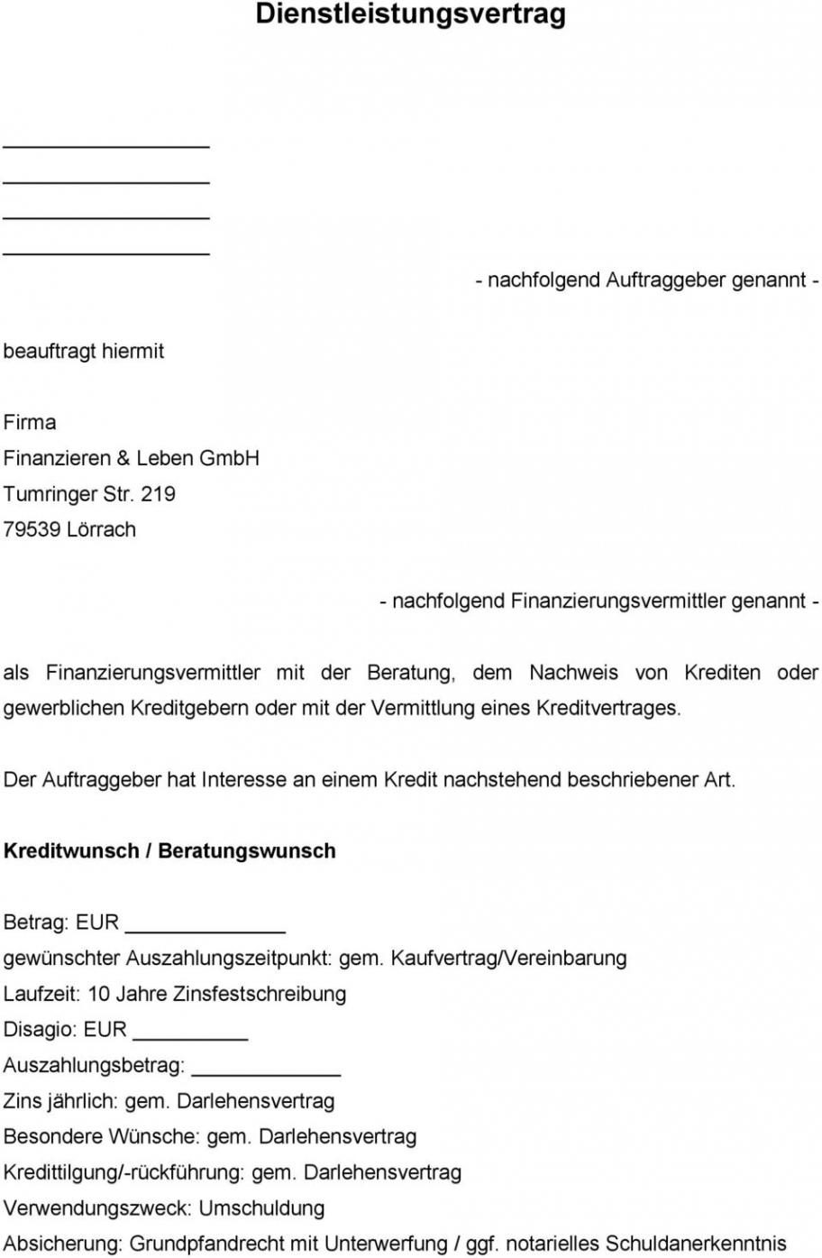 druckbar von dienstleistungsvertrag  pdf free download vermittlungsprovision rechnung vorlage