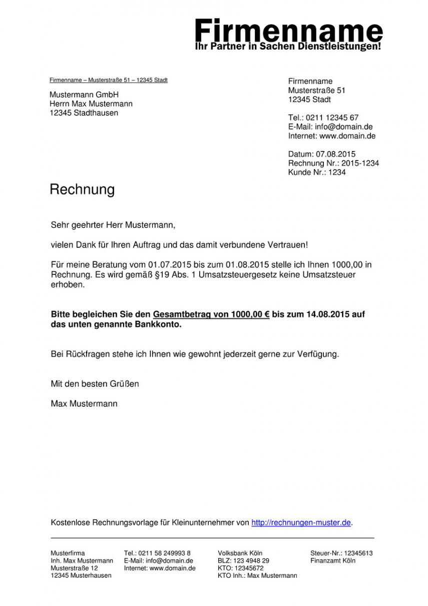 druckbar von kleinunternehmer rechnung  rechnungsvorlagen für rechnungsvorlage kleinunternehmer österreich excel