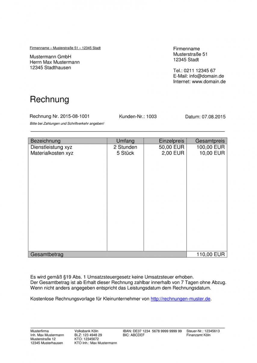 druckbar von kleinunternehmer rechnung  rechnungsvorlagen für rechnungsvorlage ohne umsatzsteuer doc