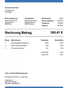 druckbar von kostenlos rechnung schreiben  über 100 pdf rechnungsvorlagen rechnungsvorlage autoverkauf word