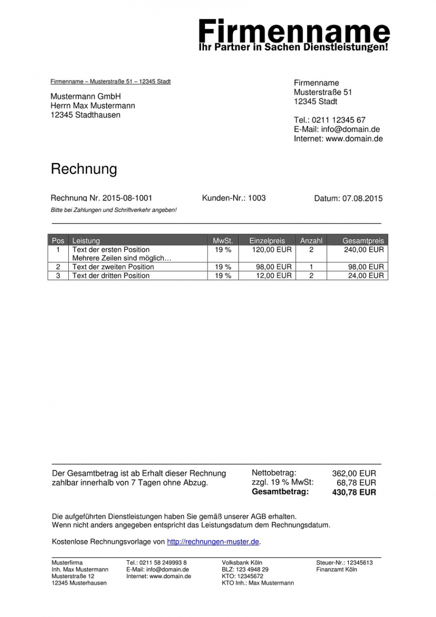 druckbar von rechnungsvorlagen kostenlos  rechnungsvorlage für jeden zweck rechnungsvorlage privat an firma excel