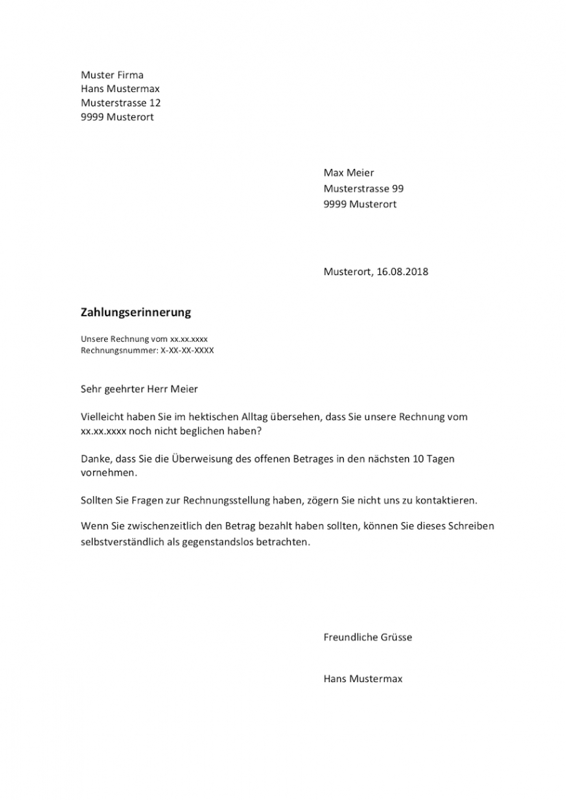 druckbar von zahlungserinnerung vorlage schweiz  mustervorlagech mahnung offene rechnung vorlage doc