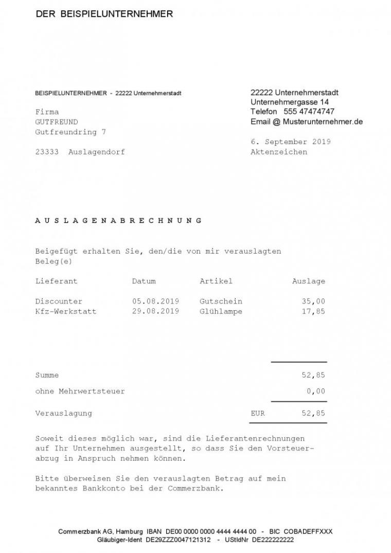 eine probe von auslagenabrechnung formular vom steuerberater auslagen rechnung vorlage pdf