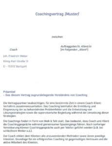 eine probe von coachingvertrag muster  pdf kostenfreier download coaching rechnung vorlage word