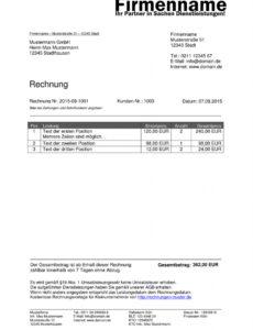 eine probe von kleinunternehmer rechnung  rechnungsvorlagen für einzelunternehmen rechnung vorlage doc