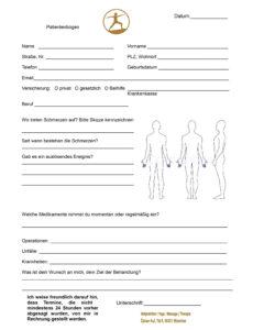 eine probe von patientenbogen  heilpraktikermassagede rechnungsvorlage heilpraktiker word