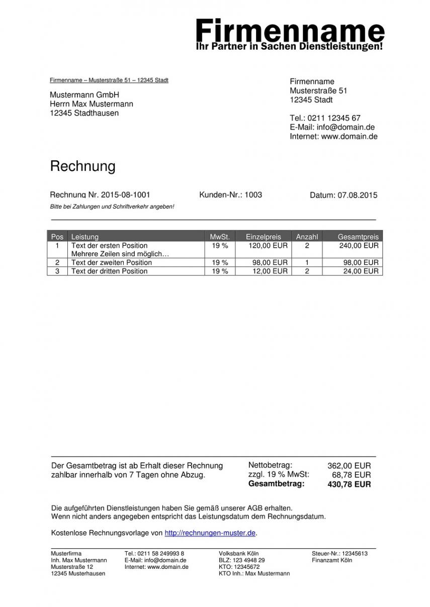 eine probe von rechnungsvorlagen kostenlos  rechnungsvorlage für jeden zweck rechnung mit mehrwertsteuer vorlage excel