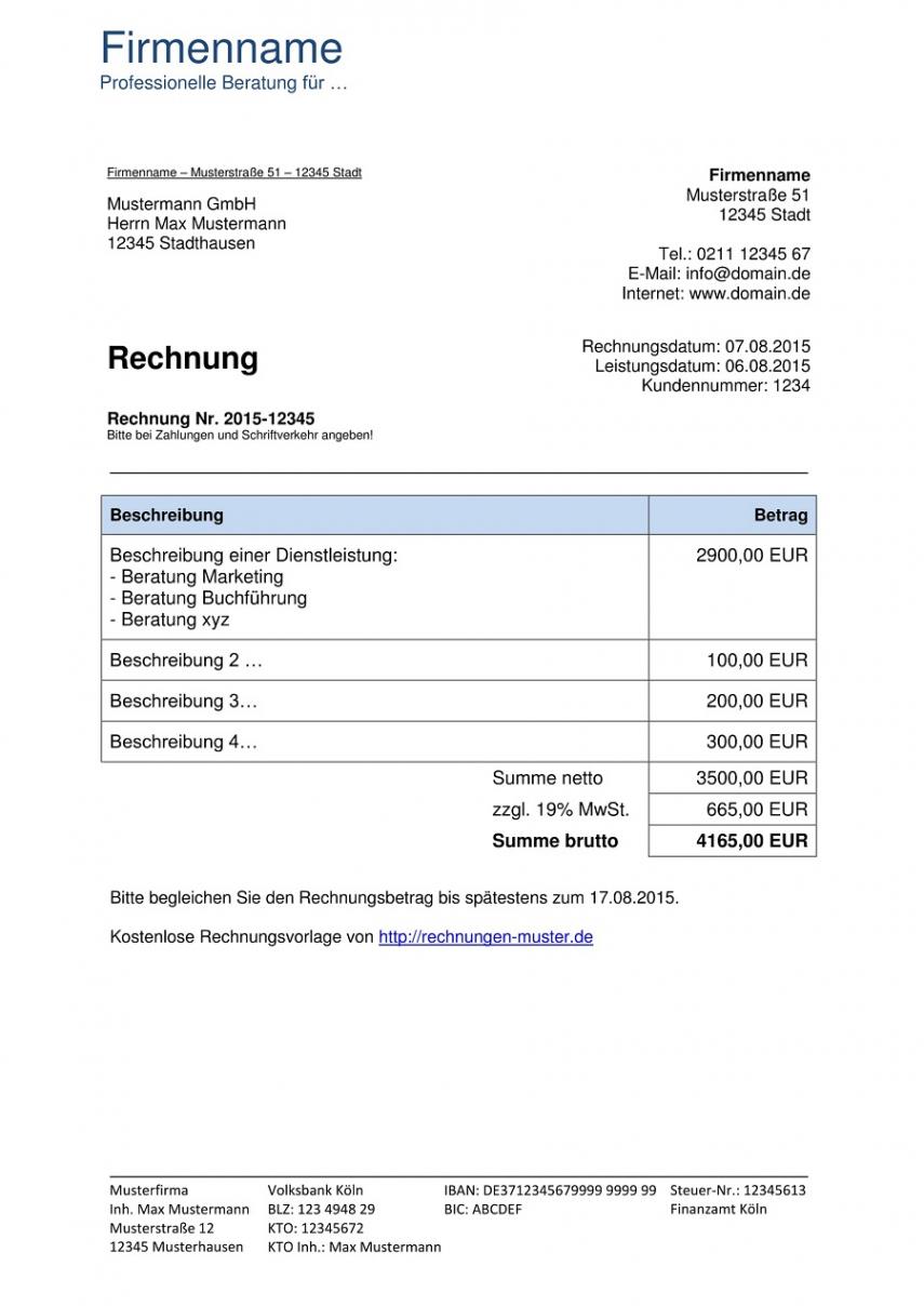 eine probe von rechnungsvorlagen kostenlos  rechnungsvorlage für jeden zweck vorlage rechnung vermietung ferienwohnung excel